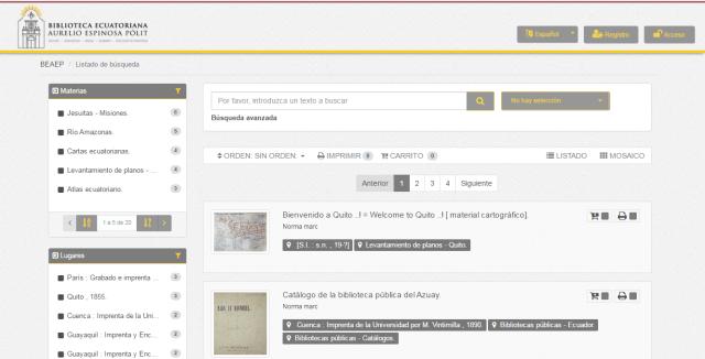 MediaSearch Biblioteca Ecuatoriana Aurelio Espinosa Pólit