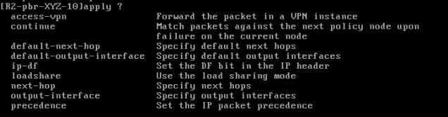 PBR options Comware