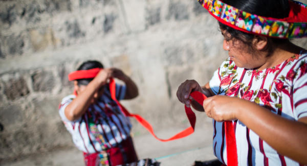 The length of the tocoyal, or traditional headdress of Santiago, is supposed to represent one's life. The longer you've lived, the longer your tocoyal. Photo: Anna Watts/Comvite