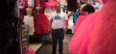 """Alex Pastor has been working for the last 15 years as a seller in this """"Quinceañera store"""""""