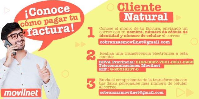 Pasos para pago de servicios Movilnet Pospago - Natural