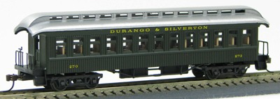 HO Old Time 18801920 Coach Durango & Silverton Pullman Green