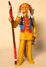 "Comansi of The Wild West Hand Painted 7"" Action Figure Red Cloud"
