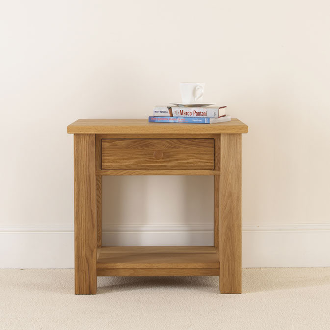 quercus solid oak bedside table