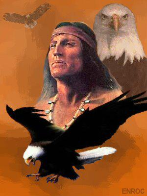 Indiaan en roofvogel