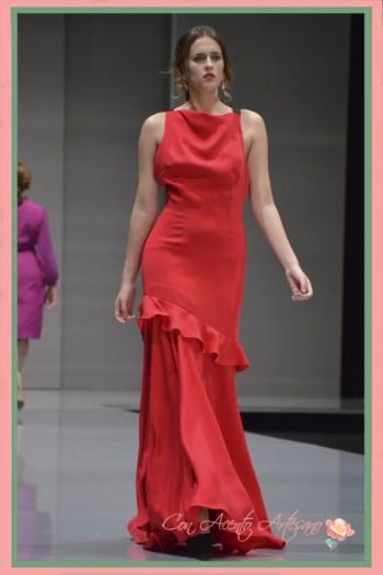 Vestido largo rojo de Eva Valderrama