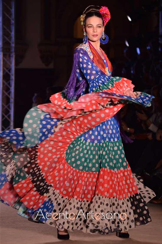 Traje de flamenca canastero de Ángela y Adela