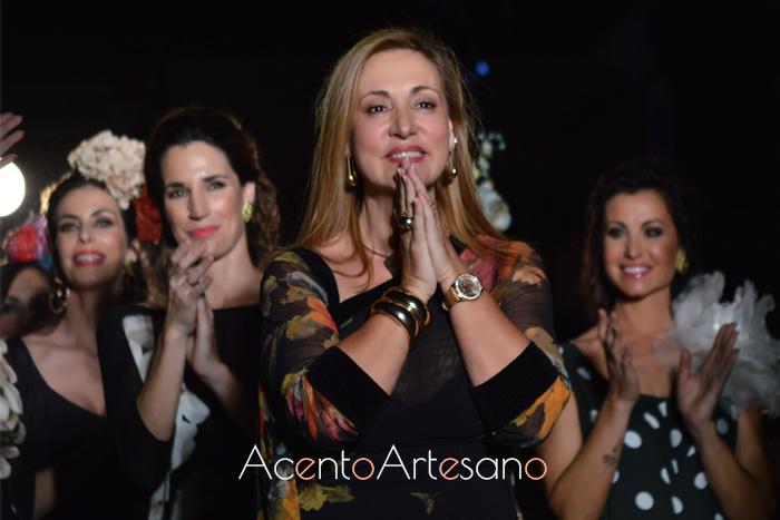 Ángeles Verano tras el carrusel del desfile de su colección 25 Primaveras en We Love Flamenco 2019