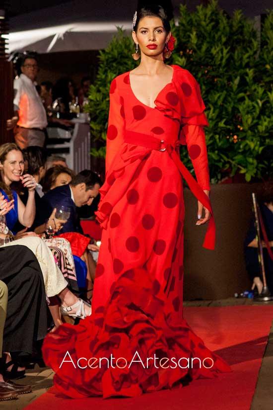 Traje de flamenca rojo de Adelina Infante