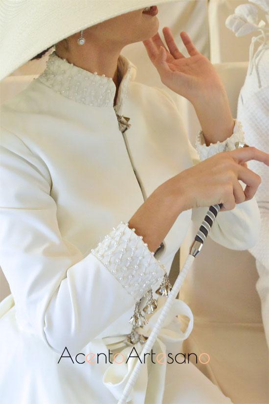 Detalles de caireles del vestido de novia de Carls Blanc
