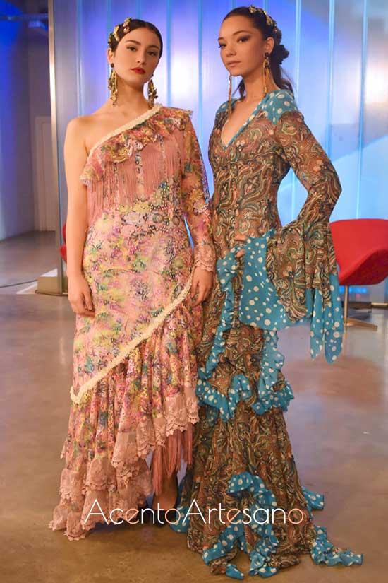 Trajes de flamenca de Mónica y Victoría en el programa Aguja Flamenca de Canal Sur Tv