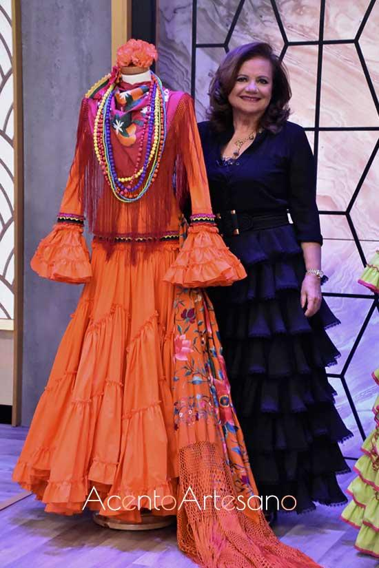 Pilar Vera con su traje de flamenca inspiración para la prueba por equipos de Aguja Flamenca