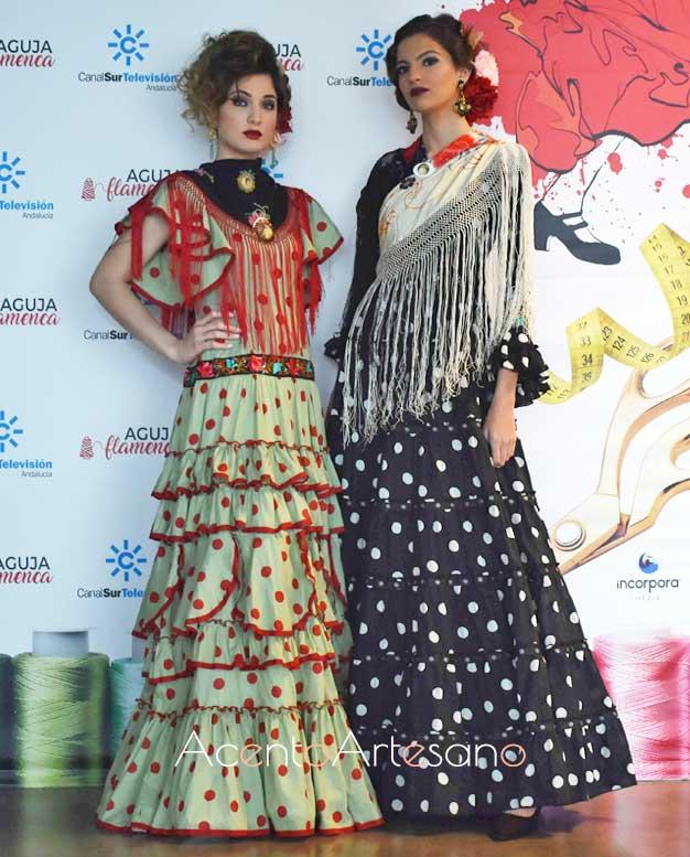 Trajes de flamenca de Pol Núñez y complementos de Carvajal inspirados en la década de los 30