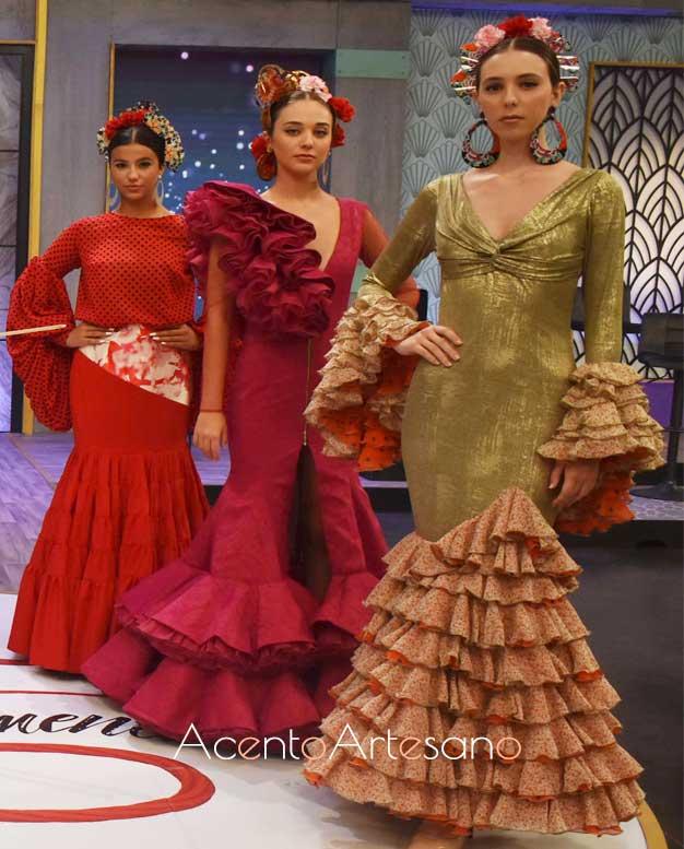 Trajes de flamenca presentados por la asociación Qlamenco en Aguja Flamenca