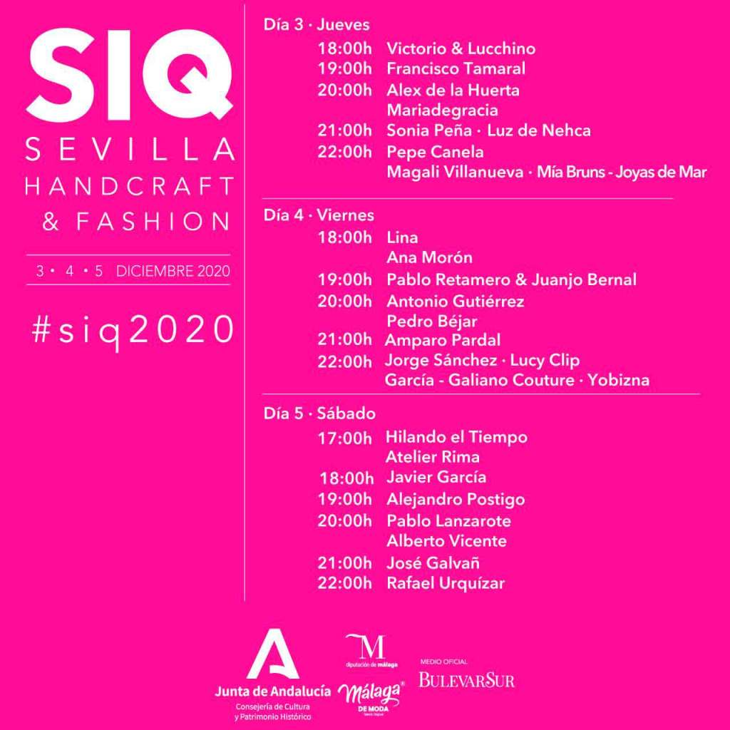 Programa de desfiles edición online SIQ, Handcraft & Fashion 2020