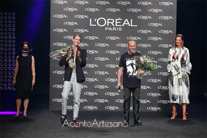 Premios L'Oreal ediión septiembre 2020 MBFWMadrid a la Mejor Colección de Ángel Schlesser y a la Mejor Modelo Neus Bermejo