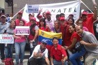Fuerza trabajadora de CONATEL presente en concentración en defensa de la paz y la soberanía este 19 de abril.