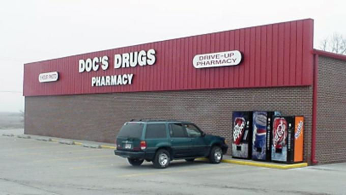 Doc's Drugs Pharmacy Leroy Steel Frame Building