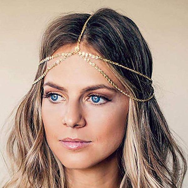 Yean - Diadema con cadena para la cabeza, estilo bohemio, color dorado 1