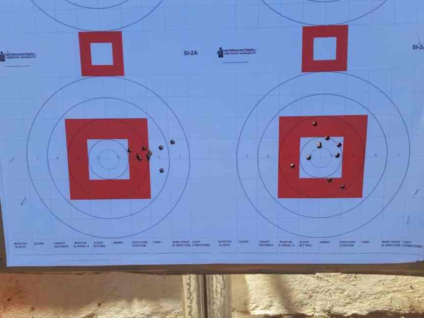 target showing accurate handgun shooting...