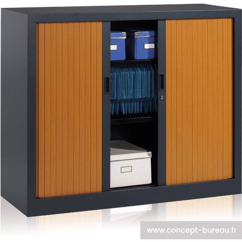 armoire basse a rideaux h 105cm alisier