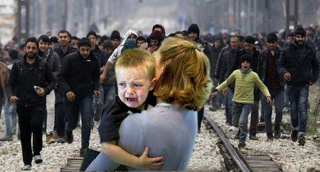 Mutter und Kind sterben unter der Flut