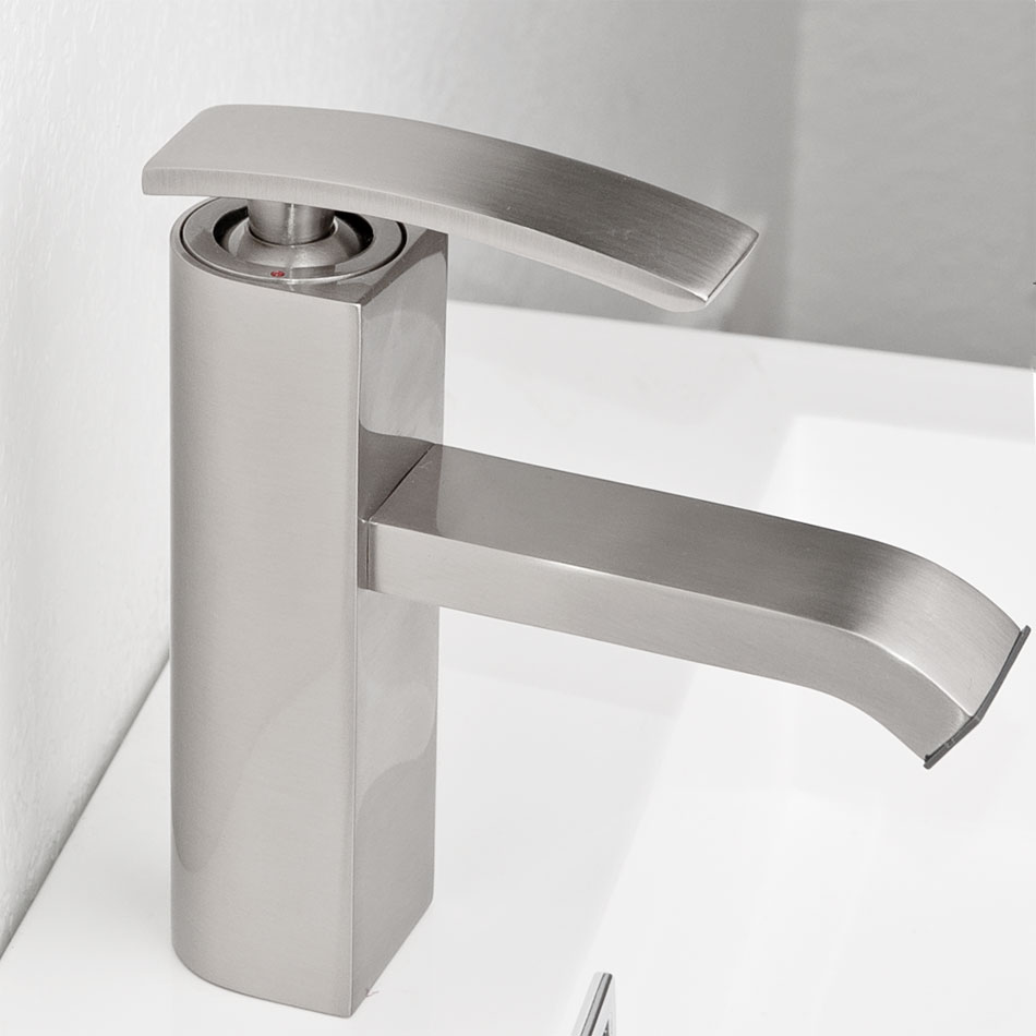 cbi ouli single hole bathroom faucet in brushed nickel m11001 081b