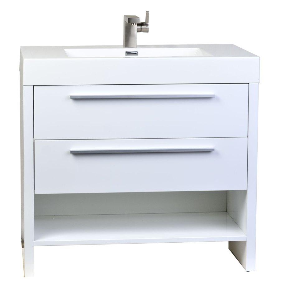 Buy Mula 35.5 In. Modern Bathroom Vanity High Gloss White ...