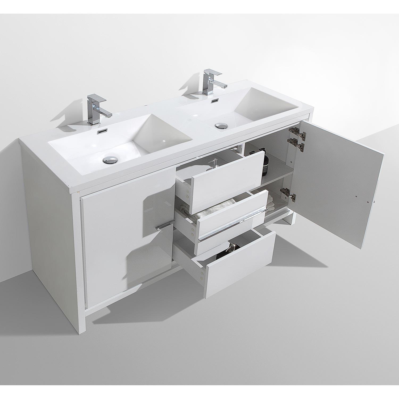 Cbi Enna 59 Inch Double Bathroom Vanity In High Gloss White Tn La1500d Hgw