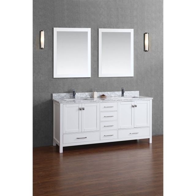 Buy Vincent 72 Inch Solid Wood Double Bathroom Vanity in White HM