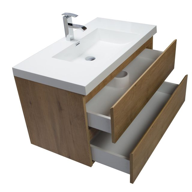Buy Angela 35 5 Inch Wall Mount Bathroom Vanity in Natural Oak TN