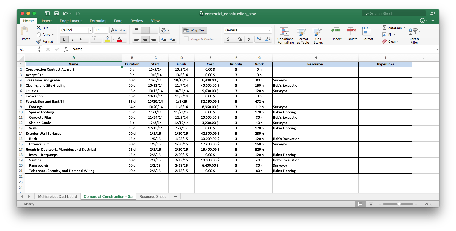 Importing Project Data From Ms Excel Into Conceptdraw Project