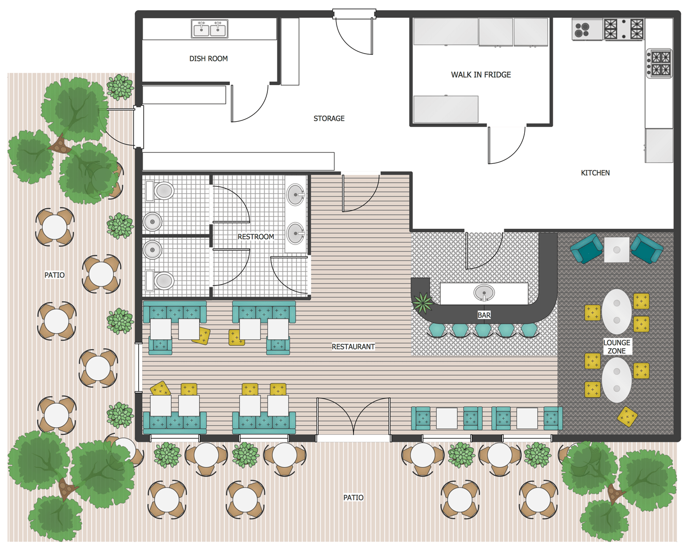 Cafe And Restaurant Floor Plan Solution