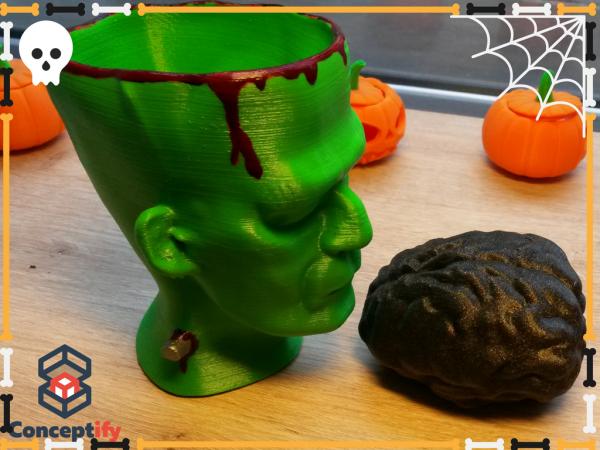 Tête Monstre Frankenstein réalisée en impression 3D pour Halloween