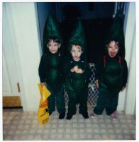 "Triplets dressed up as ""three peas in a pod"", a costume made by my grandmother"