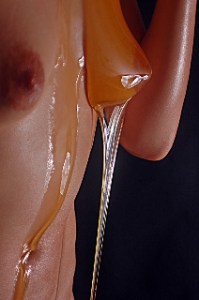 Model dripping with honey