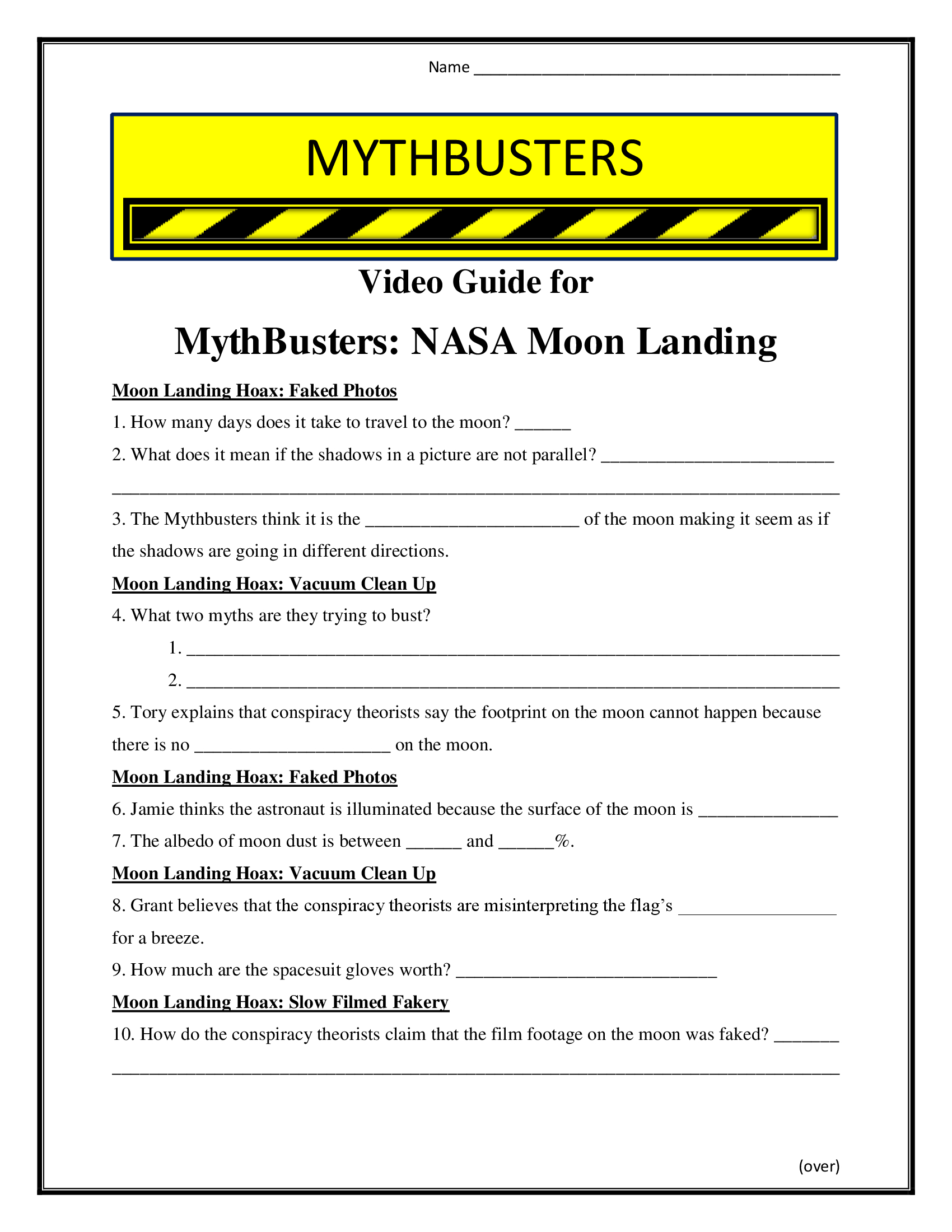 Mythbusters Nasa Moon Landing Worksheet Season 6