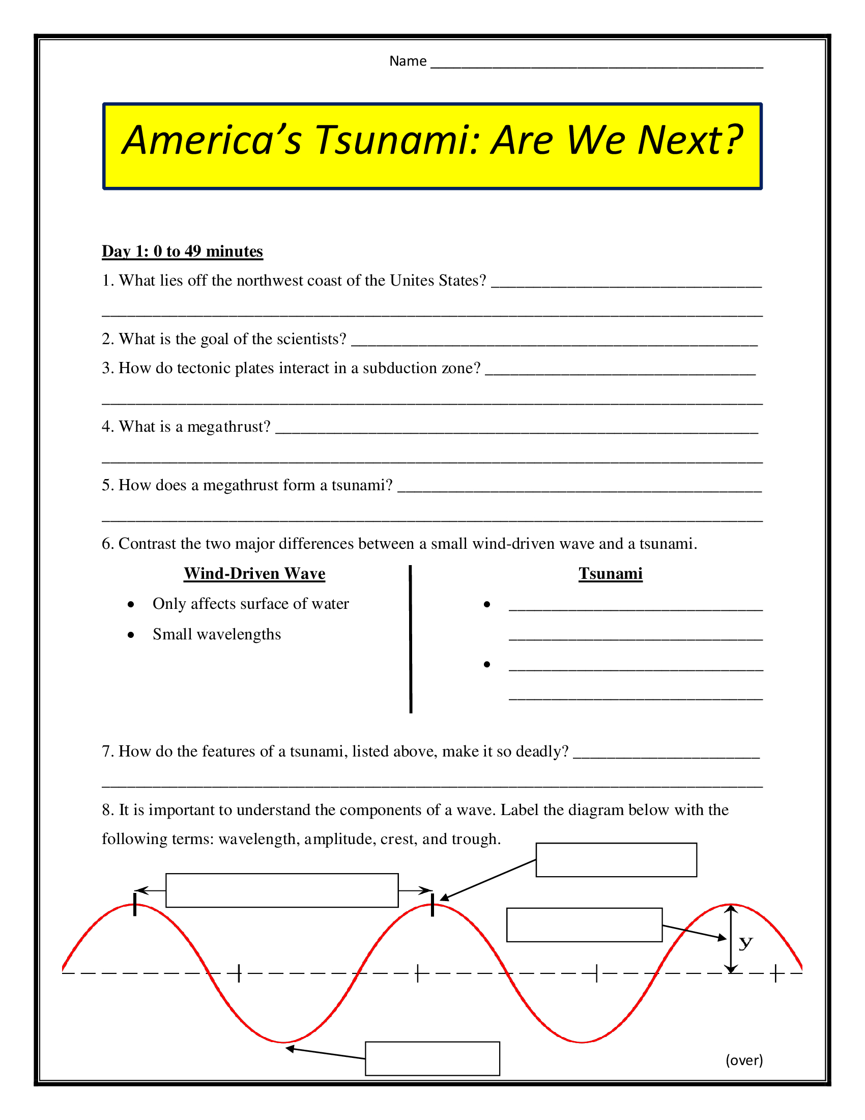 America S Tsunami Are We Next Worksheet