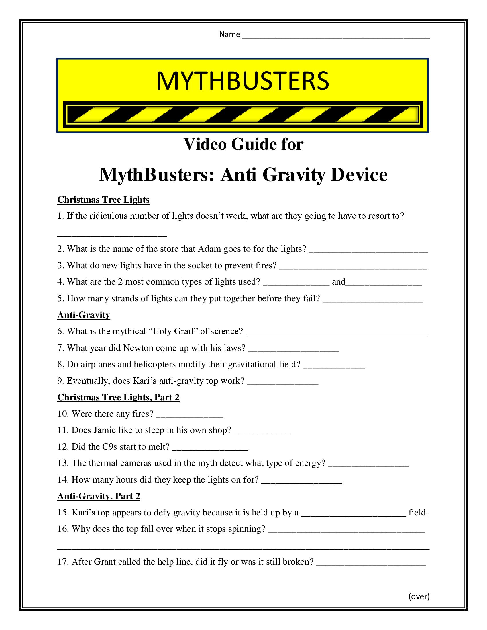 Mythbusters Anti Gravity Worksheet Season 4