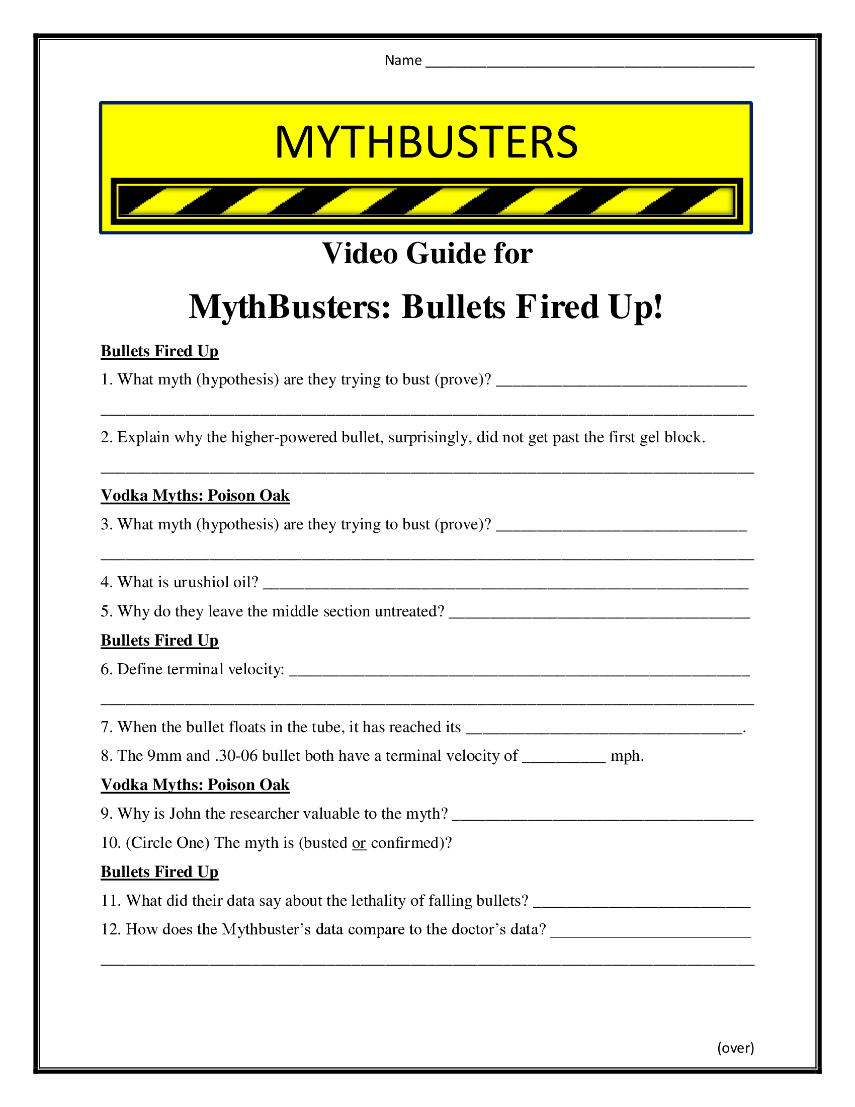 Mythbusters Bullets Fired Up Worksheet Season 4