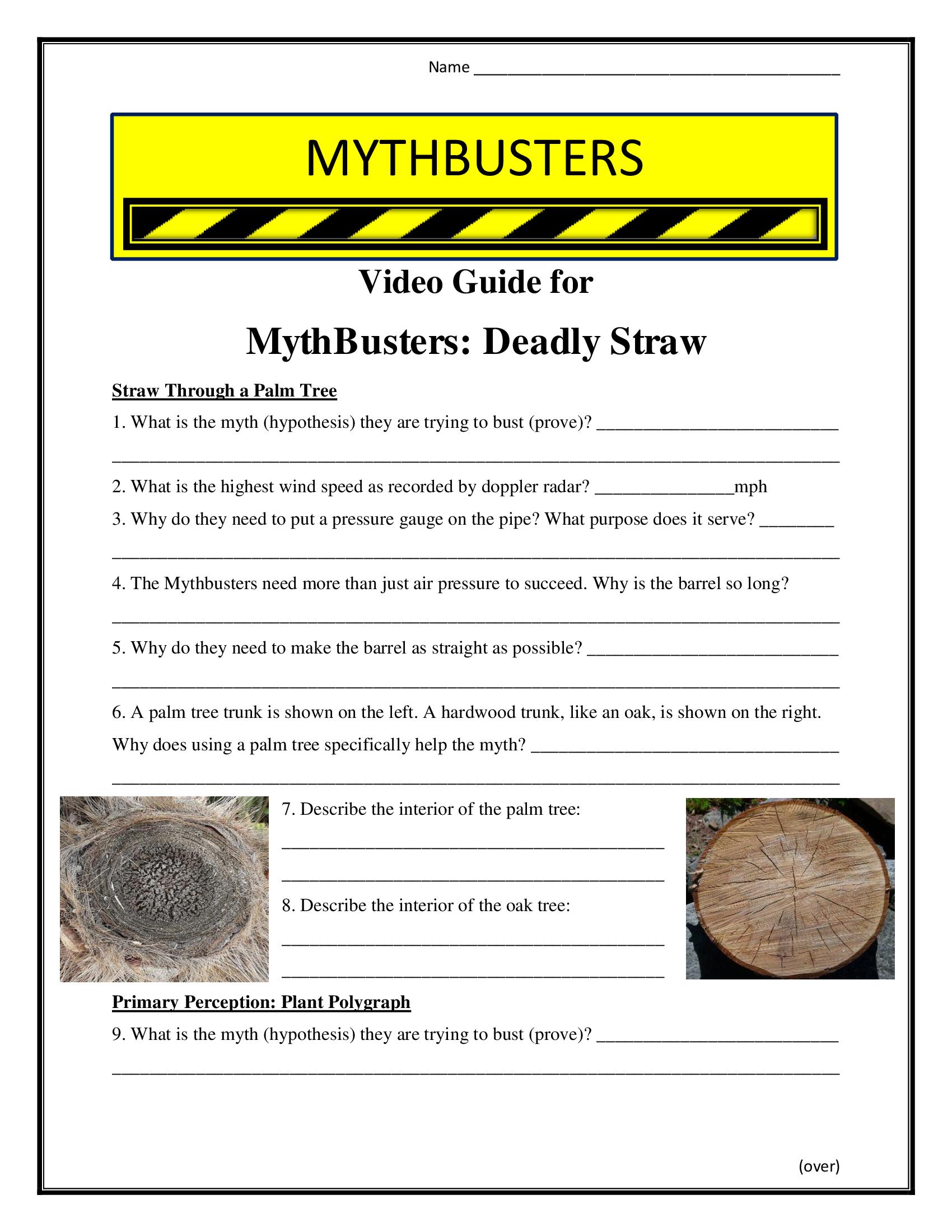 Mythbusters Deadly Straw Worksheet Season 4