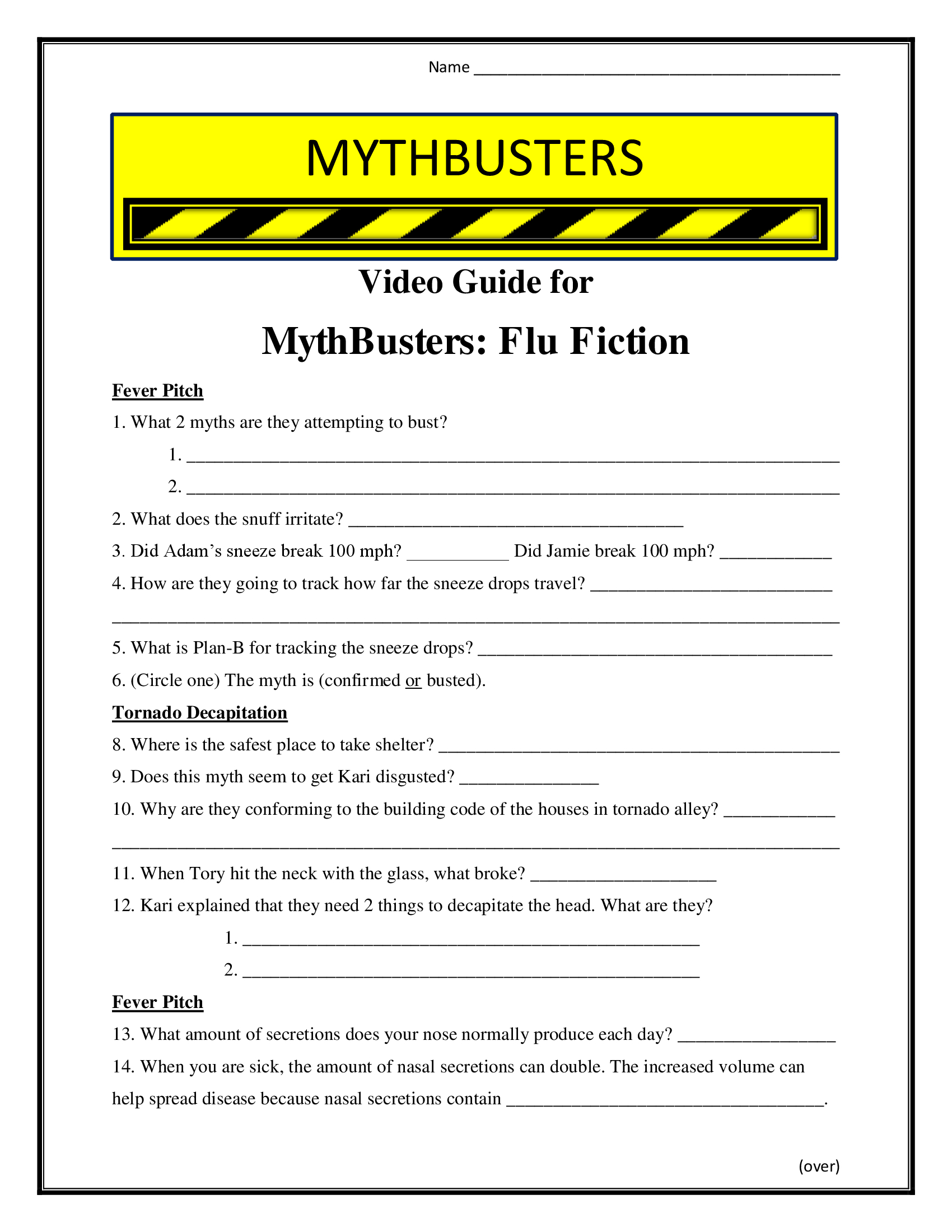 Mythbusters Flu Fiction Worksheet Season 7