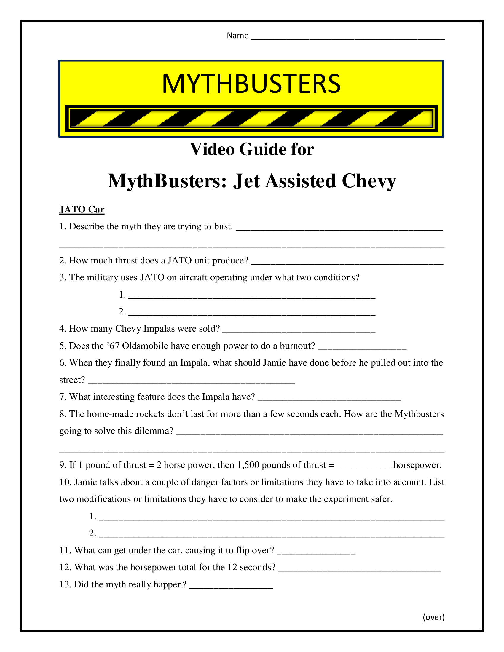 Mythbusters Jet Assisted Chevy Worksheet Season 1