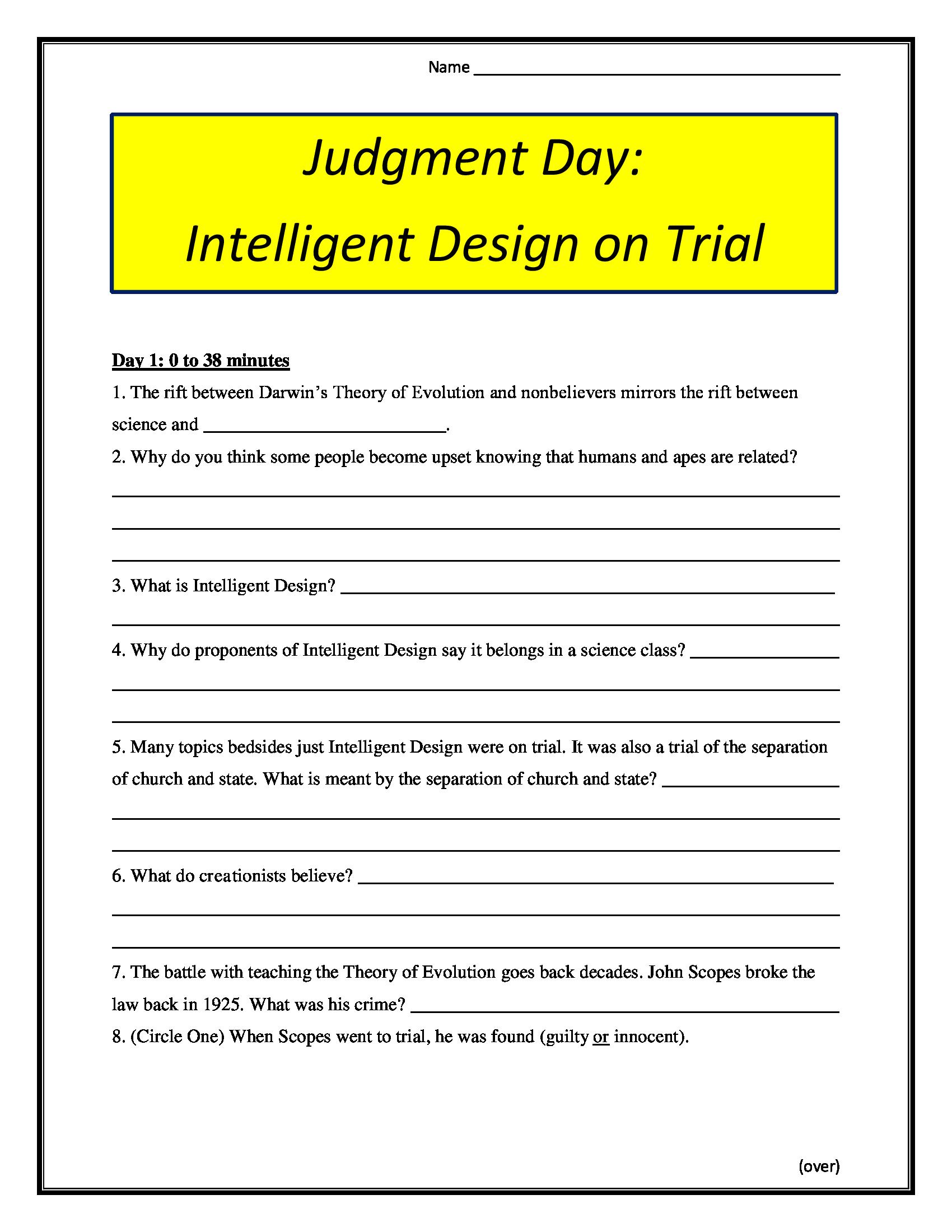 Judgment Day Intelligent Design On Trial Worksheet