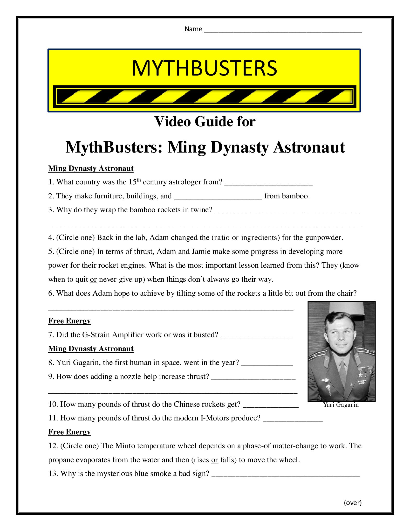 Mythbusters Ming Dynasty Astronaut Worksheet Season 2