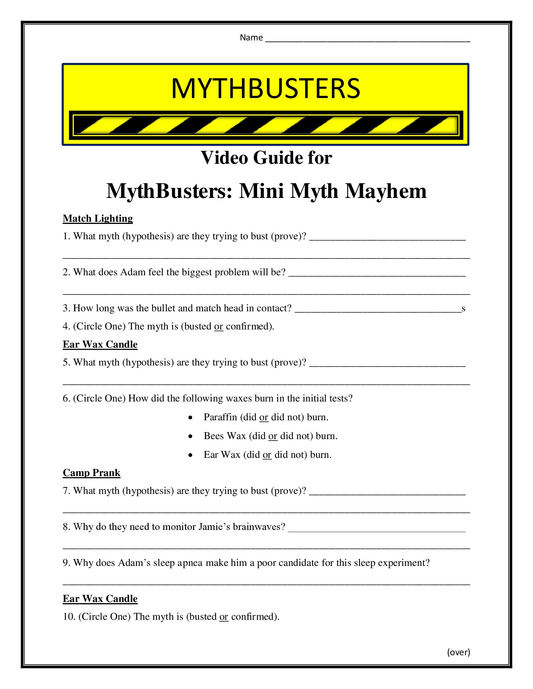 Mythbusters Mini Myth Mayhem Worksheet Season 7