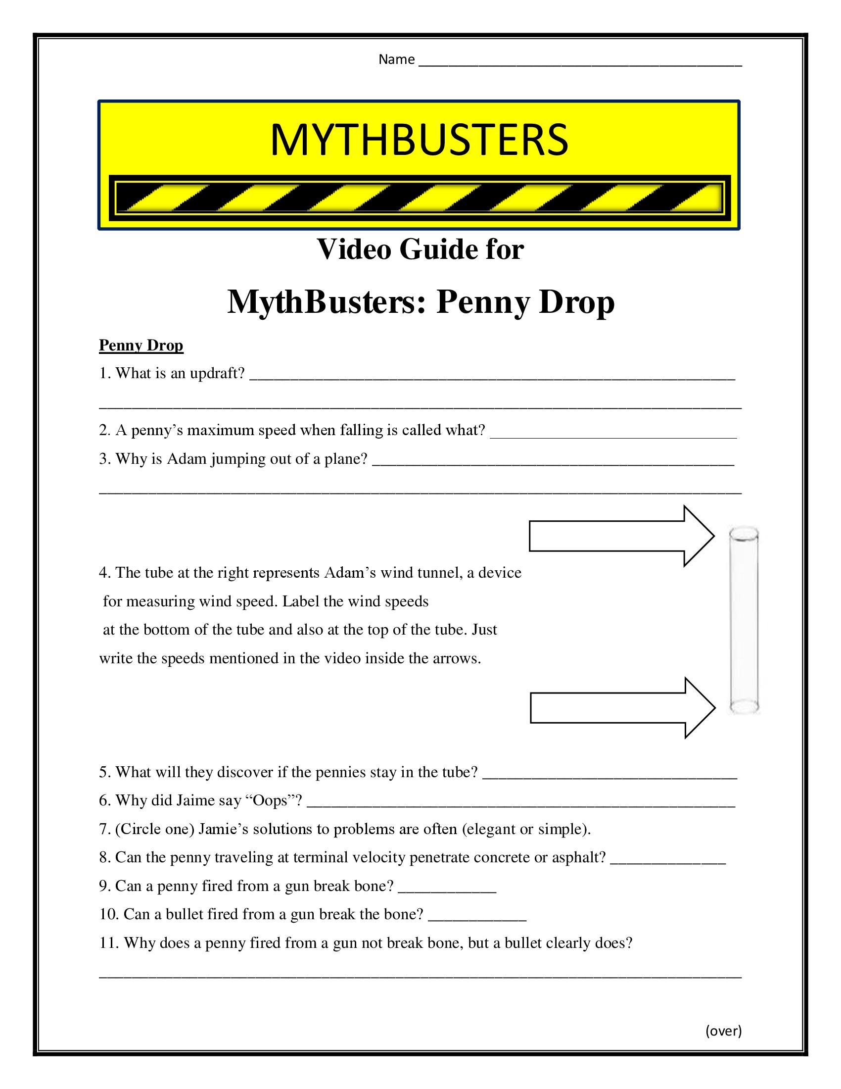 Mythbusters Penny Drop Worksheet Season 1