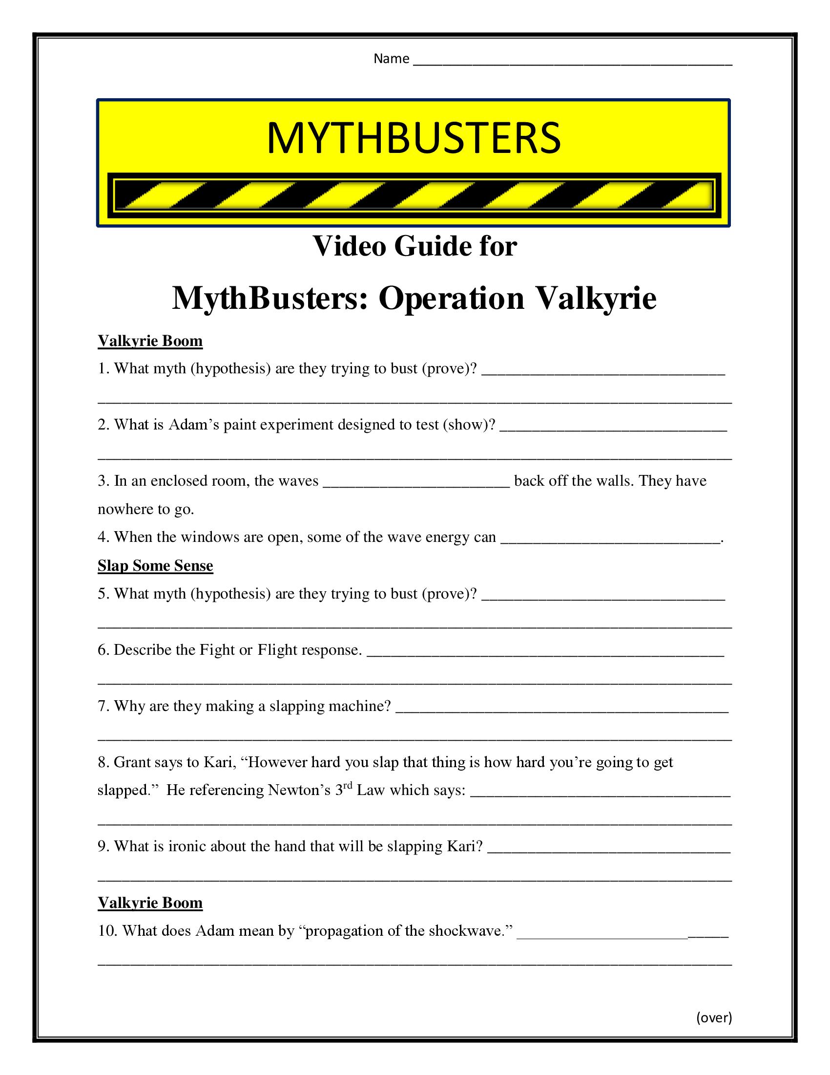 Mythbusters Operation Valkyrie Worksheet Season 7