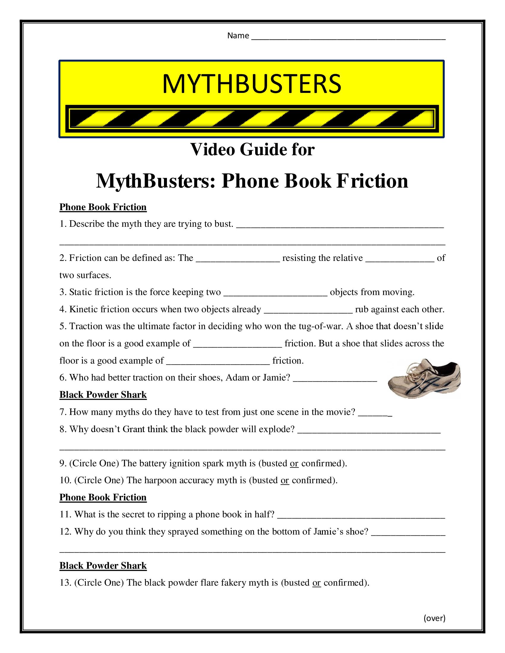 Mythbusters Phone Book Friction Worksheet Season 6
