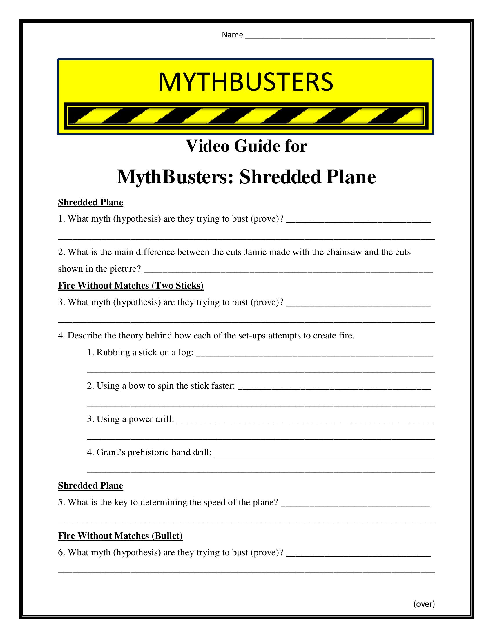 Mythbusters Shredded Plane Worksheet Season 4